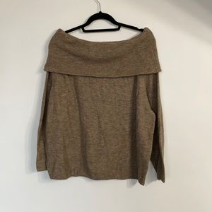 H&M Chocolate Off the Shoulder Knit Sweater